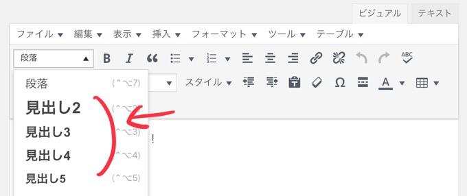 wordpressのビジュアルエディタで挿入する見出し
